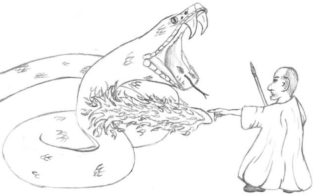 """Melnid """"Fire Fingers"""" Milshindern casts a fire gout on a Giant Snake"""